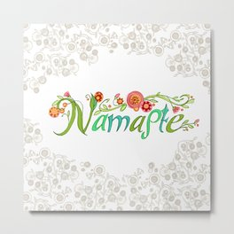 Namaste_Yoga Girls_ Flower Vines Gray_RobinPickens Metal Print