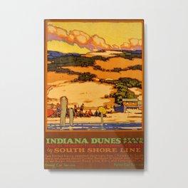 Indiana Dunes Vintage Travel Poster Metal Print