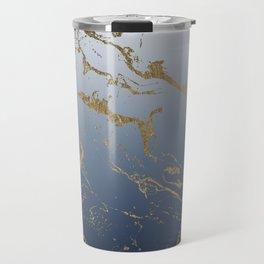 Modern grey navy blue ombre gold marble pattern Travel Mug