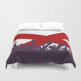 Alabama State Flag with Audience Duvet Cover