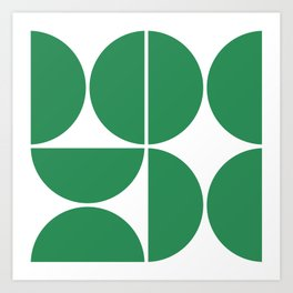 Mid Century Modern Green Square Art Print