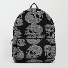 Skull doodle pattern - white on black Backpack