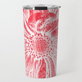 White Flower On Crayon Red Travel Mug