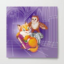fox and owl Metal Print