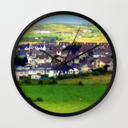 Landscape | Irish Town on Hill | Pop Art | Ireland | Nadia Bonello Wall Clock