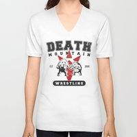 wrestling V-neck T-shirts featuring Death Mountain Wrestling by Nick Overman