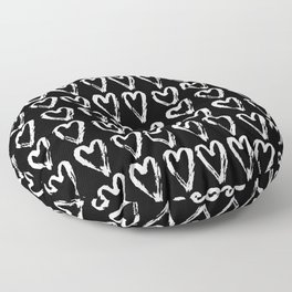 Black & White-Love Heart Pattern- Mix & Match with Simplicty of life Floor Pillow