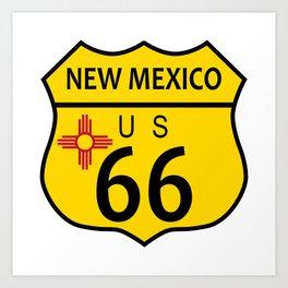 Route 66 New Mexico Flag Art Print