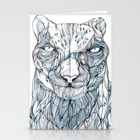 snow leopard Stationery Cards featuring snow leopard by Eric Tiedt