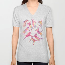 Watercolor Flying Cats - Pink Palatte Unisex V-Neck