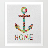 tribal Art Prints featuring you make me home by Bianca Green