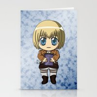 shingeki no kyojin Stationery Cards featuring Shingeki no Kyojin - Chibi Armin by Tenki Incorporated