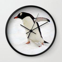 Gentoo Penguin Walking Through Snow Wall Clock