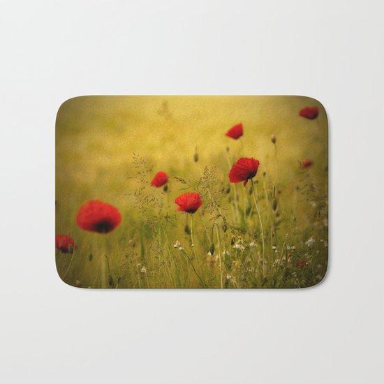 Poppy-field Poppies Flowers Flower Bath Mat