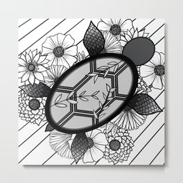 Grayscale Floral Turtle Metal Print