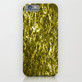 Vertical metal texture of bright highlights on gold waves. iPhone Case