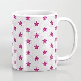 Abstract neon pink white faux glitter stars pattern Coffee Mug