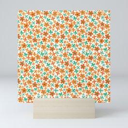 Little Orange and Green Flowers Mini Art Print