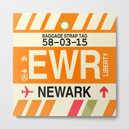 EWR Newark • Airport Code and Vintage Baggage Tag Design Metal Print