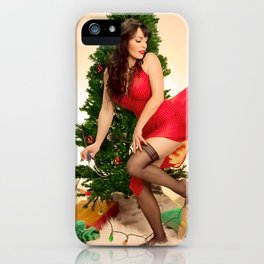 """""""Tree Trouble"""" - The Playful Pinup - Christmas Tree Pin-up Girl by Maxwell H. Johnson iPhone Case"""