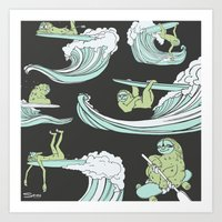 sloths Art Prints featuring Surfin' Sloths  by The Art of Shinn