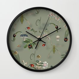 Close-up on beetle, snail and bush-cricket Wall Clock