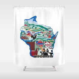Wisconsin Country Sampler Shower Curtain