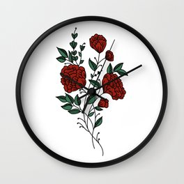 Dark Red Peonies Wall Clock