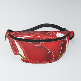 Elegant red white watercolor romantic roses floral Fanny Pack