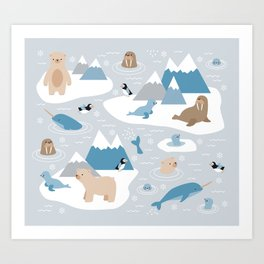 Arctic animals Art Print