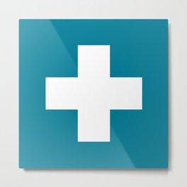 Swiss Cross Blue Metal Print