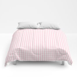 Mini Soft Pastel Pink and White Gingham Check Plaid Comforters