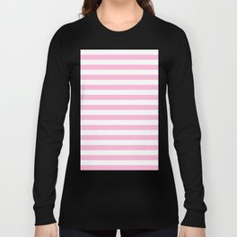 Narrow Horizontal Stripes - White and Cotton Candy Pink Long Sleeve T-shirt