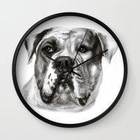 bulldog Wall Clocks featuring Bulldog by Danguole Serstinskaja