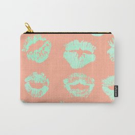 Sweet Life Lips Peach Coral + Mint Meringue Carry-All Pouch