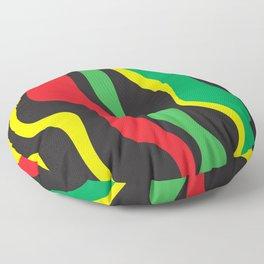 Red Yellow Green Black Rasta Wave Floor Pillow