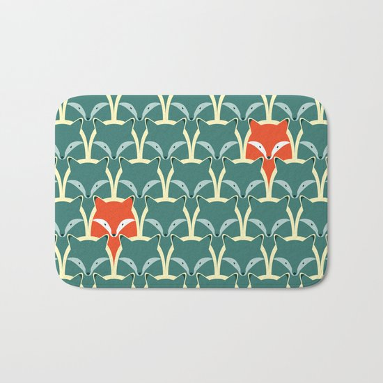 Seamless pattern with foxes and wolves Bath Mat