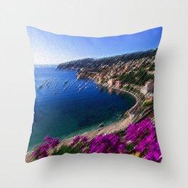 Harbor - Cote d'azur, France Landscape Painting by Jeanpaul Ferro Throw Pillow