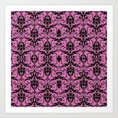 Black Damask and Pink Glitters Art Print