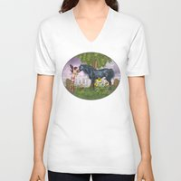 the last unicorn V-neck T-shirts featuring The Last Black Unicorn by Simone Gatterwe