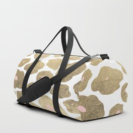 Elegant pink faux gold abstract leopard animal print Duffle Bag