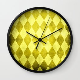 Canary Harlequin Grunge Wall Clock