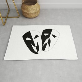 Black and White Stage Masks Rug