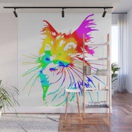 tie dye cat splash art Wall Mural
