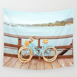 Two retro bicycles standing on Santa Barbara pier, California, USA. Vintage filter with muted teal blue and orange colors. Wall Tapestry