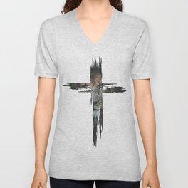 Lion Cross Christian Design Unisex V-Neck