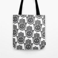 hamsa Tote Bags featuring Hamsa by Luna Portnoi