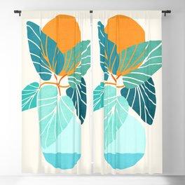 Tropical Symmetry / Retro Aqua Orange Palette Blackout Curtain