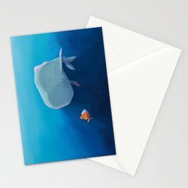 The little sperm whale and the fish Stationery Cards