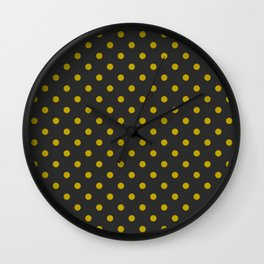 Black and Gold Polka Dots Wall Clock